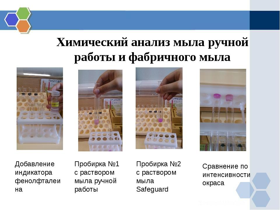 Химический анализ мыла ручной работы и фабричного мыла Добавление индикатора...