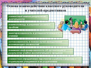 Основа взаимодействия классного руководителя и учителей-предметников взаимная