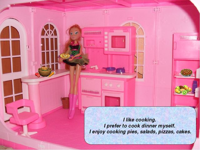 I like cooking. I prefer to cook dinner myself. I enjoy cooking pies, salads,...