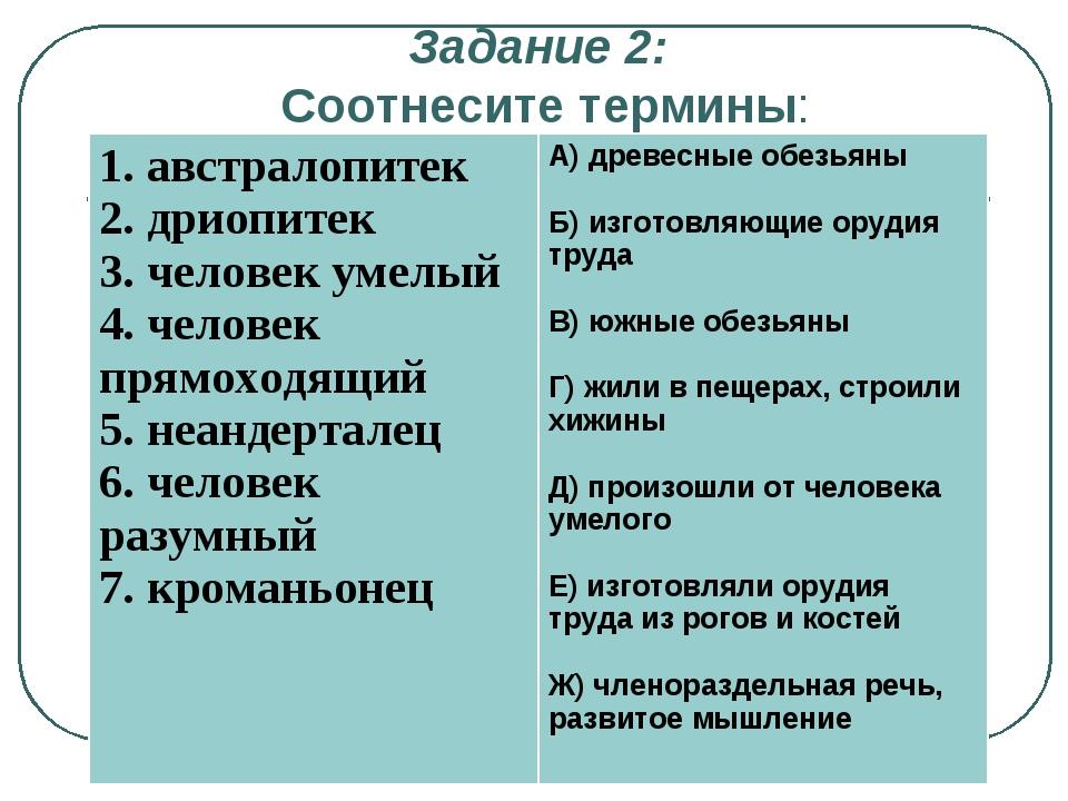 Задание 2: Соотнесите термины: 1. австралопитек 2. дриопитек 3. человек у...