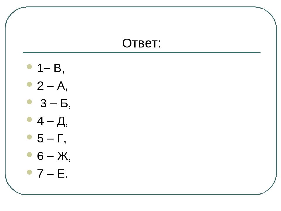 Ответ: 1– В, 2 – А, 3 – Б, 4 – Д, 5 – Г, 6 – Ж, 7 – Е.