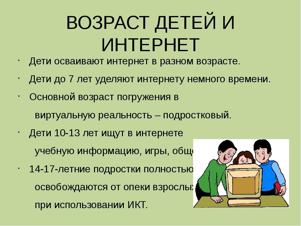 ВОЗРАСТ ДЕТЕЙ И ИНТЕРНЕТ Дети осваивают интернет в разном возрасте. Дети до 7...