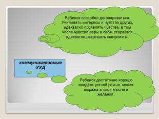коммуникативные УУД Ребенок способен договариваться. Учитывать интересы и чув