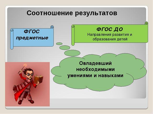 Соотношение результатов Овладевший необходимыми умениями и навыками ФГОС пре...