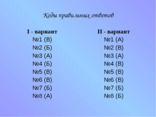 Коды правильных ответов I - вариант №1 (В) №2 (Б) №3 (А) №4 (Б) №5 (В) №6 (В)