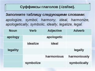 Заполните таблицу следующими словами: apologize, symbol, harmony, ideal, harm