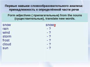 Первые навыки словообразовательного анализа: принадлежность к определённой ча