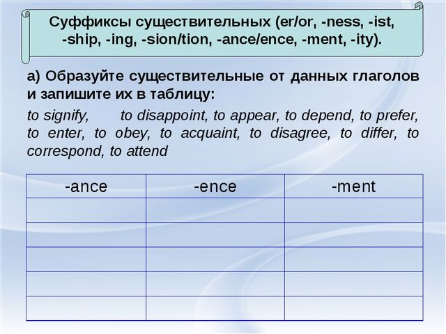 а) Образуйте существительные от данных глаголов и запишите их в таблицу: to s...