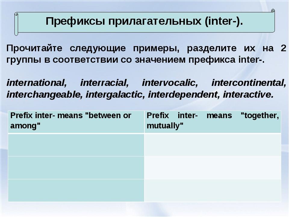 Префиксы прилагательных (inter-). Прочитайте следующие примеры, разделите их...