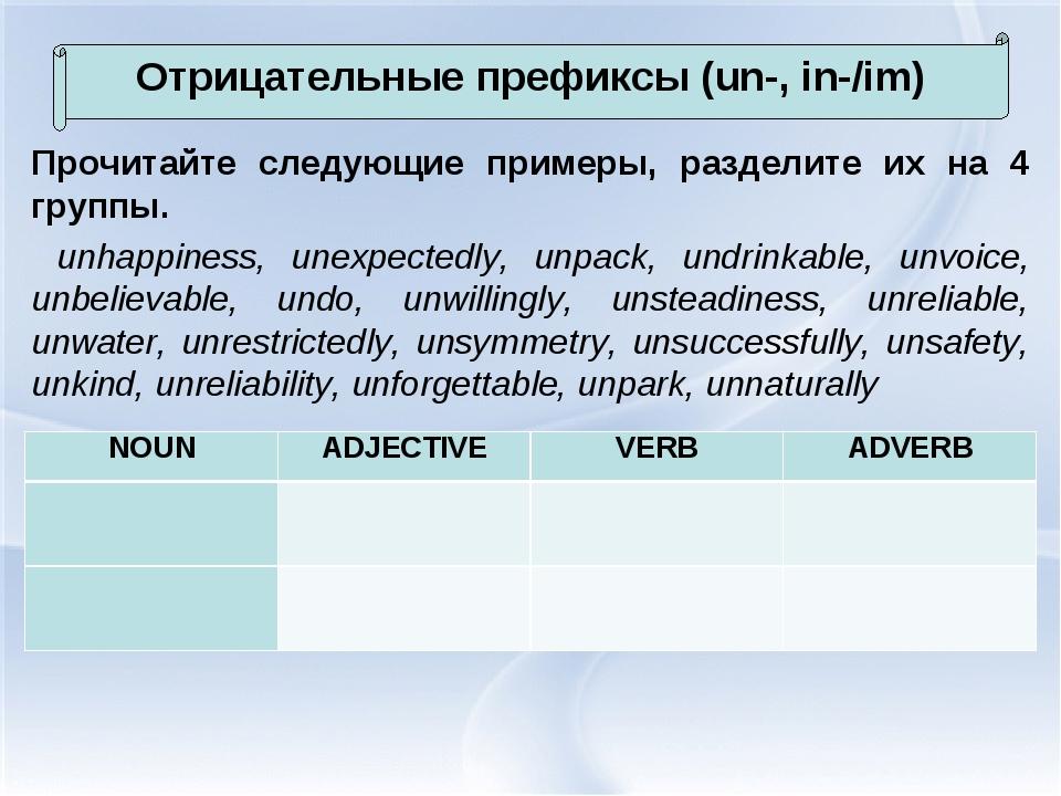 Прочитайте следующие примеры, разделите их на 4 группы. unhappiness, unexpect...