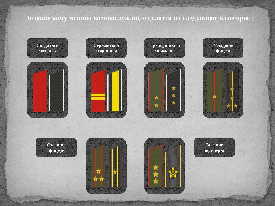 По воинскому званию военнослужащие делятся на следующие категории: Солдаты и...