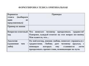 ФОРМУЛИРОВКА ТЕЗИСА ОРИГИНАЛЬНАЯ Варианты тезиса (выбираем один из предложенн