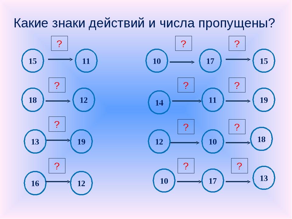 Какие знаки действий и числа пропущены?