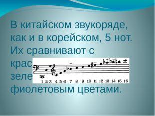 В китайском звукоряде, как и в корейском, 5 нот. Их сравнивают с красным, жел