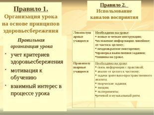 Правило 1. Организация урока на основе принципов здоровьесбережения Правильна