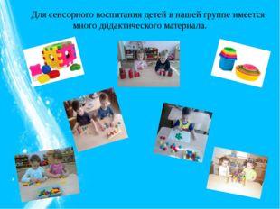 Для сенсорного воспитания детей в нашей группе имеется много дидактического