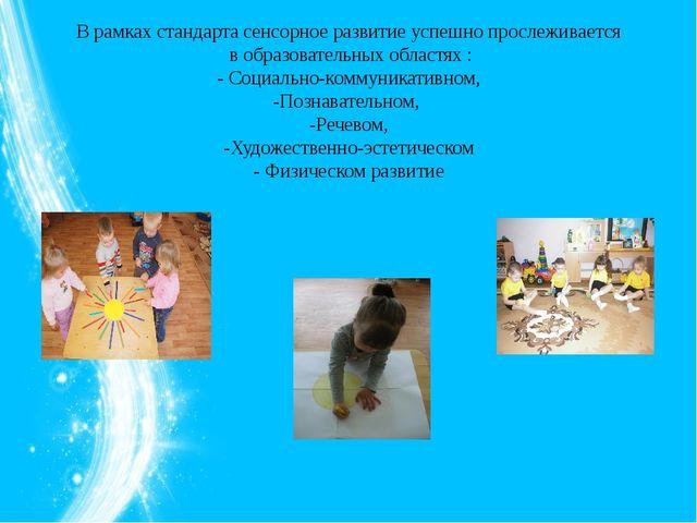 В рамках стандарта сенсорное развитие успешно прослеживается в образовательн...