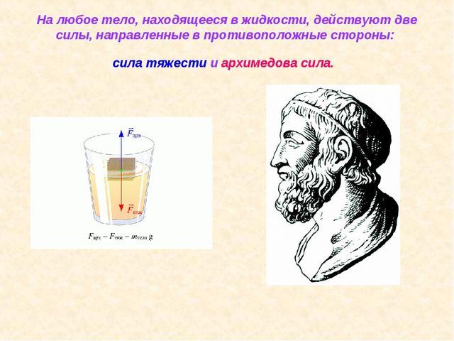 На любое тело, находящееся в жидкости, действуют две силы, направленные в про...
