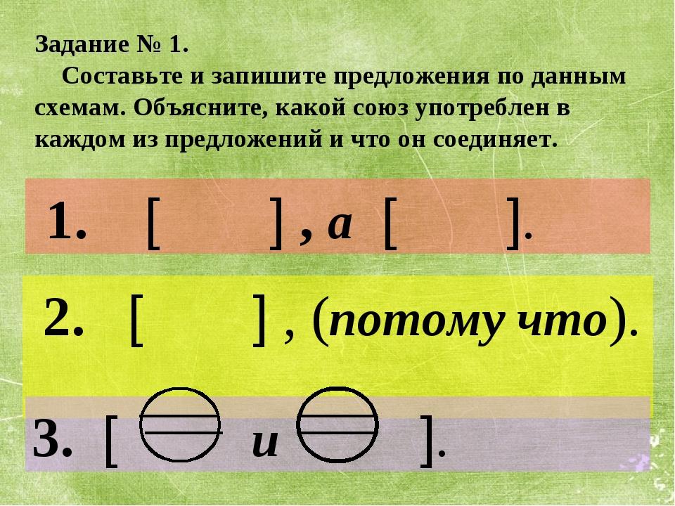 1. [ ] , а [ ]. 2. [ ] , (потому что). 3. [ и ]. Задание № 1. Составьте и за...