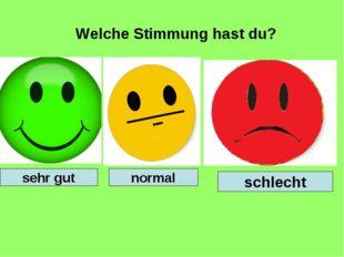 Welche Stimmung hast du? schlecht sehr gut normal