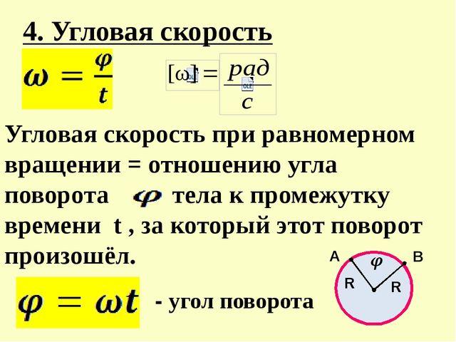 4. Угловая скорость Угловая скорость при равномерном вращении = отношению угл...