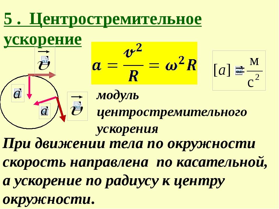 модуль центростремительного ускорения При движении тела по окружности скорос...