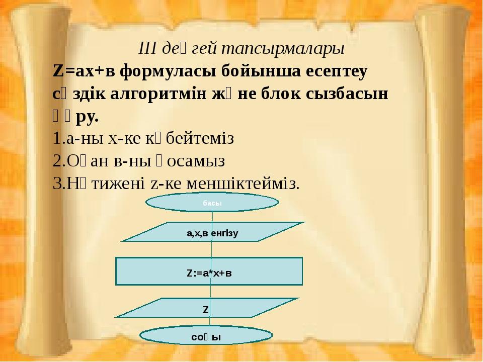 V. Сабақты қорытындылау Аялдама 1.Сызықтық алгоритм 2.Тармақталған алгоритм...