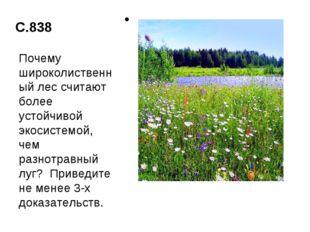 С.838 Почему широколиственный лес считают более устойчивой экосистемой, чем р