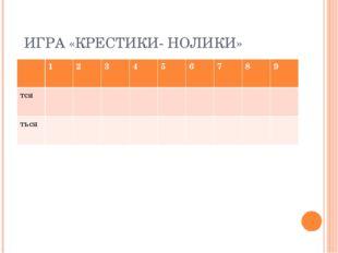 ИГРА «КРЕСТИКИ- НОЛИКИ» 123456789 тся ться