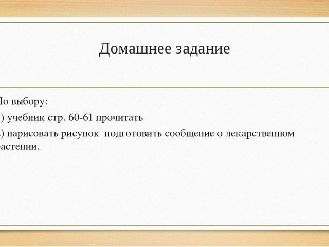 Домашнее задание По выбору: 1) учебник стр. 60-61 прочитать 2) нарисовать рис...