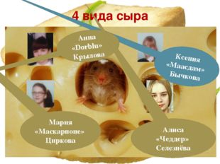 4 вида сыра Ксения «Маасдам» Бычкова Анна «Dorblu» Крылова Мария «Маскарпоне»