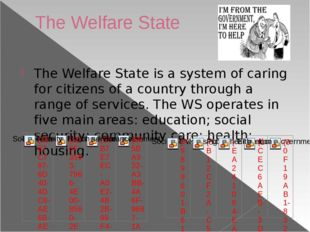 The Welfare State The Welfare State is a system of caring for citizens of a c