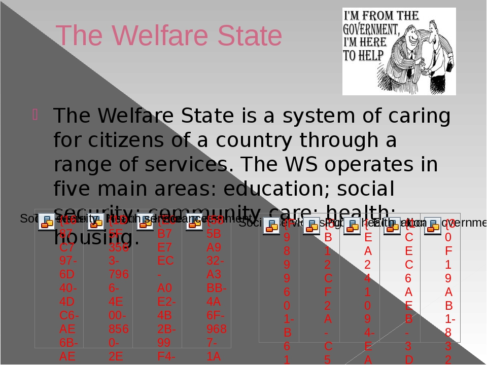 The Welfare State The Welfare State is a system of caring for citizens of a c...