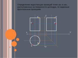 Определение недостающих проекций точек «а» и «в», расположенных на поверхност
