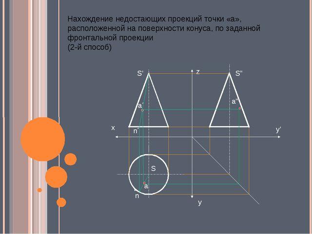 Нахождение недостающих проекций точки «а», расположенной на поверхности кону...