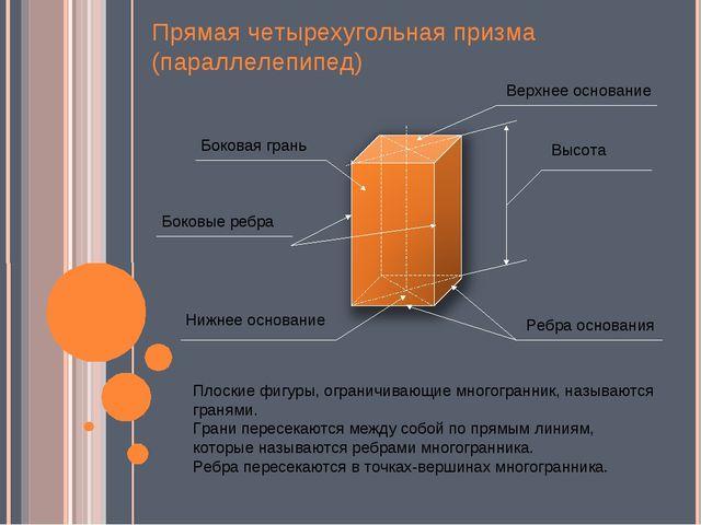 Прямая четырехугольная призма (параллелепипед) Верхнее основание Нижнее основ...