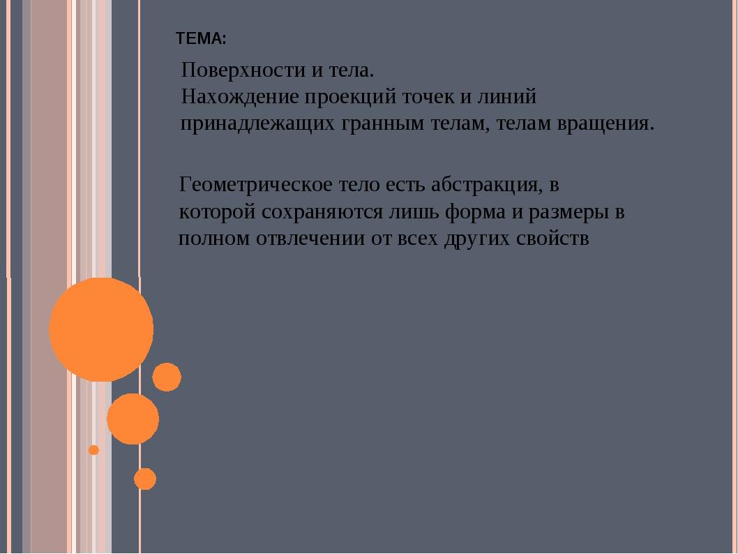 ТЕМА: Поверхности и тела. Нахождение проекций точек и линий принадлежащих гра...