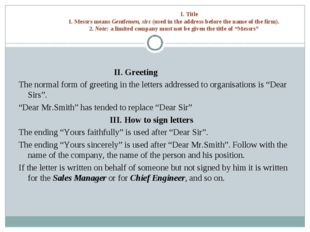 I. Title 1. Messrs means Gentlemen, sirs (used in the address before the nam