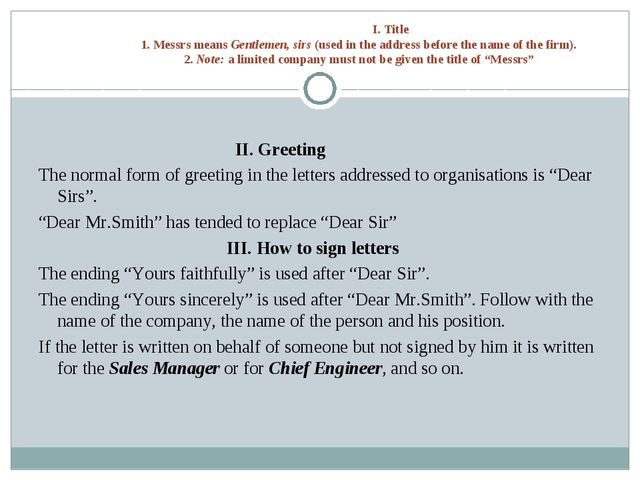 I. Title 1. Messrs means Gentlemen, sirs (used in the address before the nam...