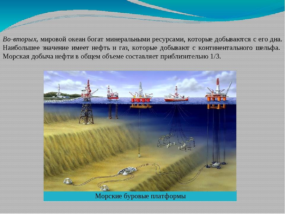 Во-вторых, мировой океан богат минеральными ресурсами, которые добываются с е...