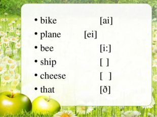 bike [ai] plane [ei]  bee [i:] ship [ʃ] cheese [ʧ] that [ð]
