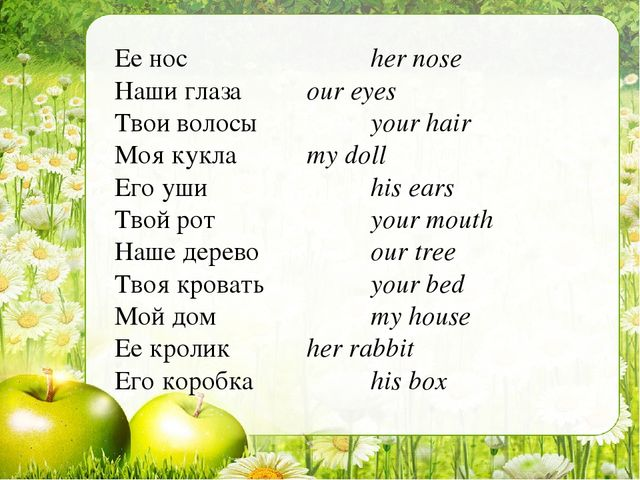 Ее носher nose Наши глазаour eyes Твои волосыyour hair Моя куклаmy d...