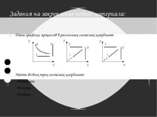 Задания на закрепление нового материала: Даны графики процессов в различных