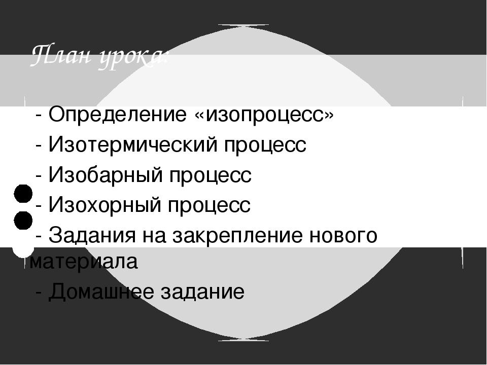 План урока:  - Определение «изопроцесс»  - Изотермический процесс  - Изоба...
