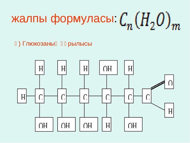 жалпы формуласы: ә) Глюкозаның құрылысы