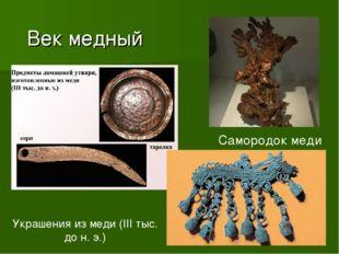 Век медный Самородок меди Украшения из меди (III тыс. до н. э.)