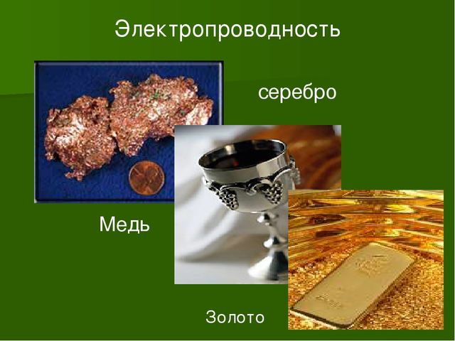 Электропроводность Медь серебро Золото