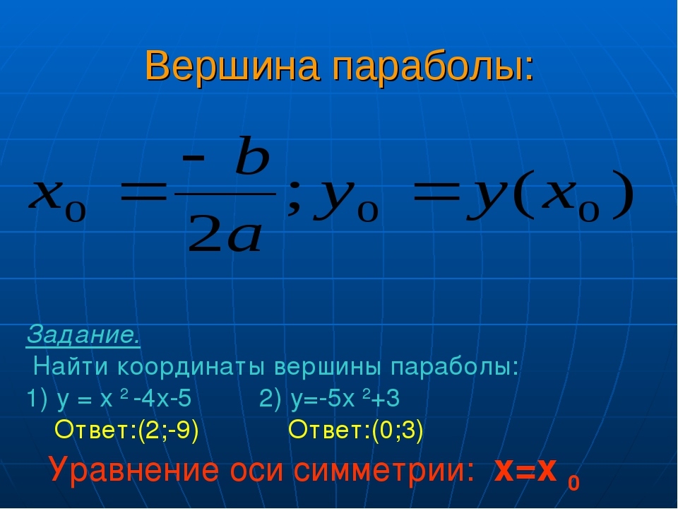 Вершина параболы: Задание. Найти координаты вершины параболы: 1) у = х 2 -4х-...