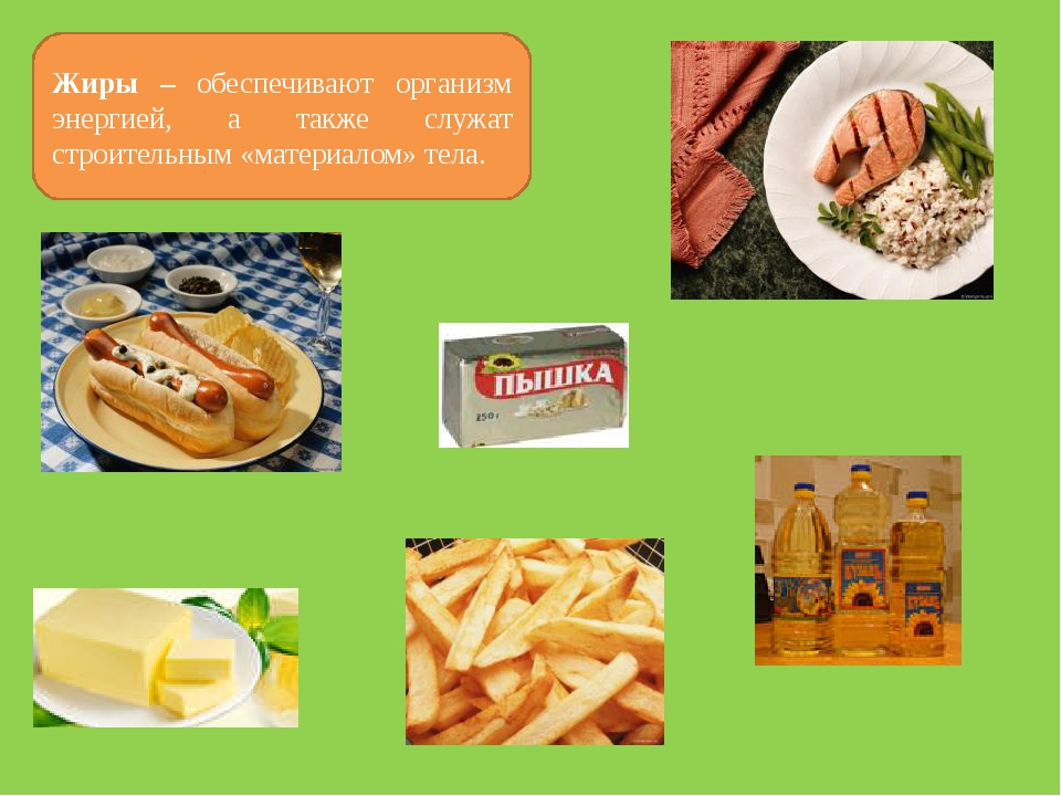 Жиры – обеспечивают организм энергией, а также служат строительным «материало...