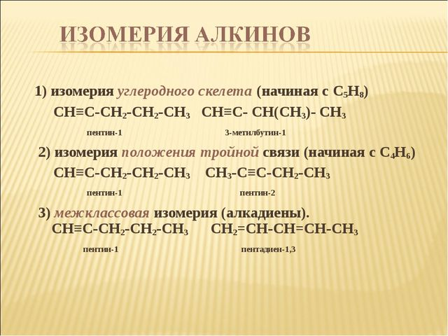 1) изомерия углеродного скелета (начиная с C5H8) CH≡C-CH2-CH2-CH3 CH≡C- CH(C...